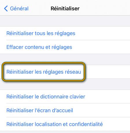 Réinitialiser les réglages réseau iPhone