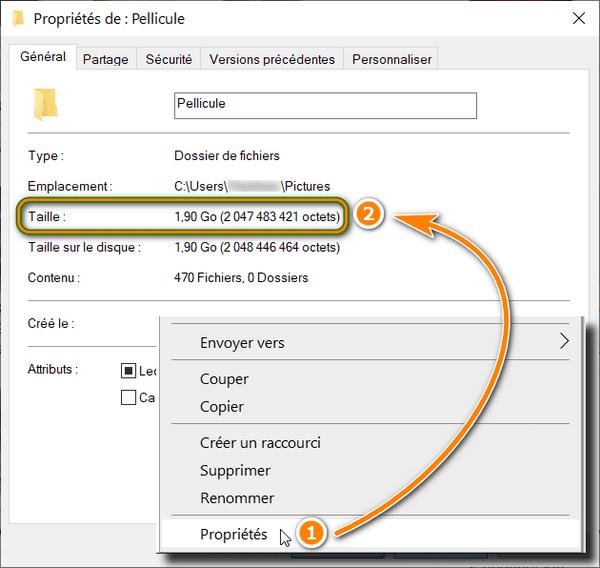 Taille du dossier photos dans Windows