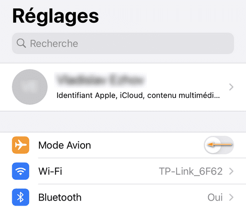 Désactiver le mode avion sur iPhone
