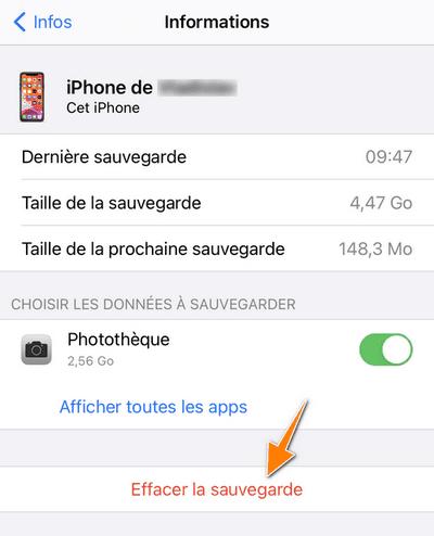 Effacer sauvegarde iCloud sur iPhone