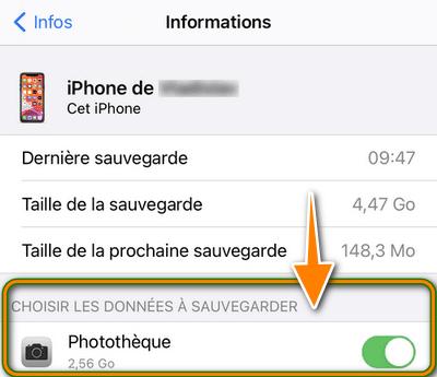 Choisir les données à sauvegarder iPhone