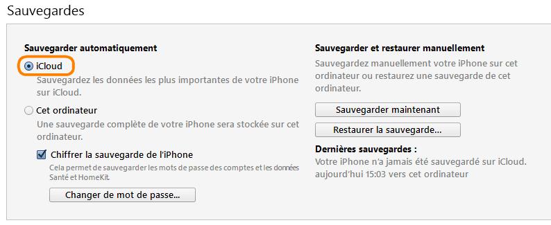 Sauvegarde iCloud via iTunes