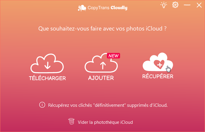 Récupérer les photos supprimées d'iCloud via CopyTrans Cloudly