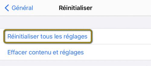 Réinitialiser tous les réglages sur iPhone
