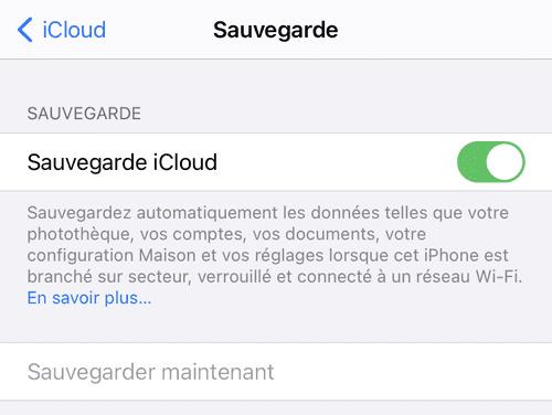 Option Sauvegarder maintenant grisée sur iPhone