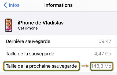Taille de la prochaine sauvegarde iPhone
