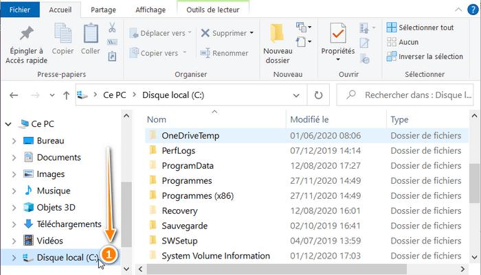 Choisir le disque C dans Windows 10