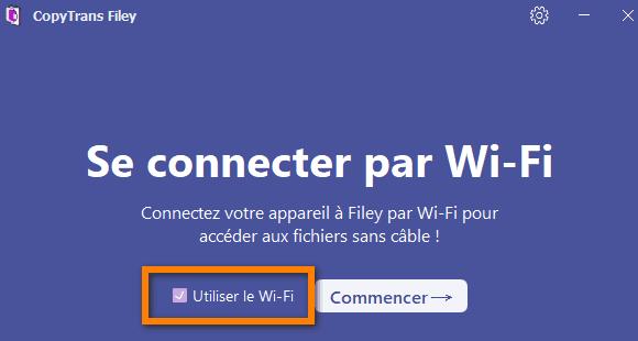 Connecter l'iPhone au PC par WiFi via CopyTrans Filey