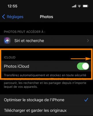Désactiver iCloud photos
