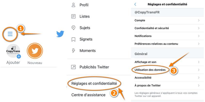 Utilisation des données Twitter sur iPhone