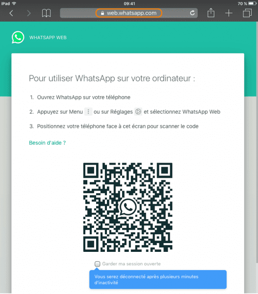 Scanner code QR pour ouvrir WhatsApp sur iPad