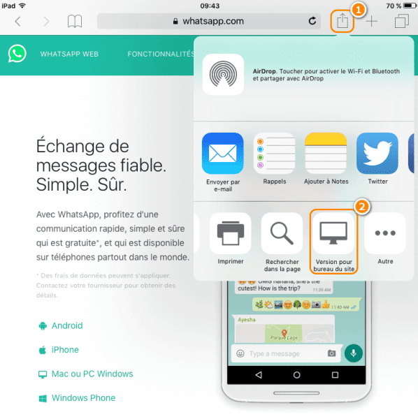 Sélectionner WhatsApp pour iPad