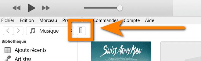 sélectionnez votre iPhone dans iTunes