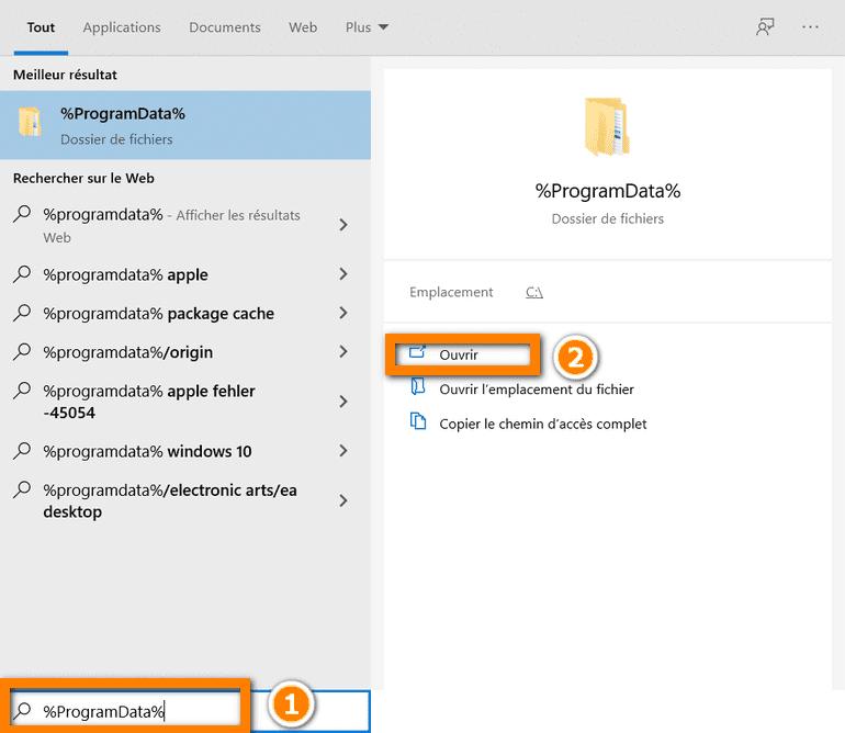 retrouver dossier ProgramData sur PC pour corriger iTunes