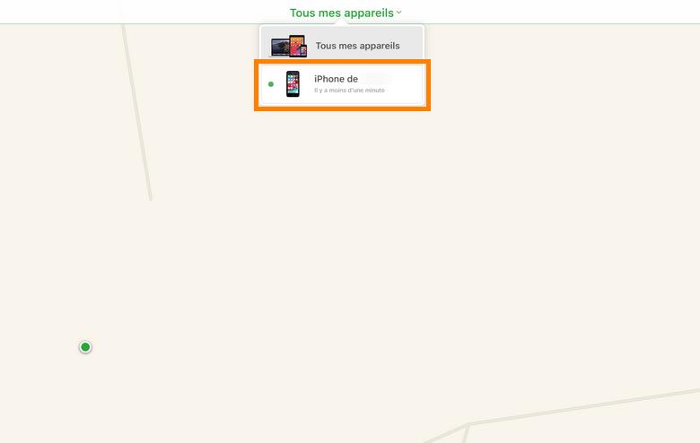 Dans le menu tous les appareils choisissez iPhone bloqué
