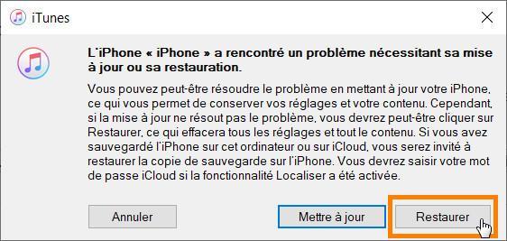 Exécutez iTunes et сliquez sur Restaurer pour restaurer iphone