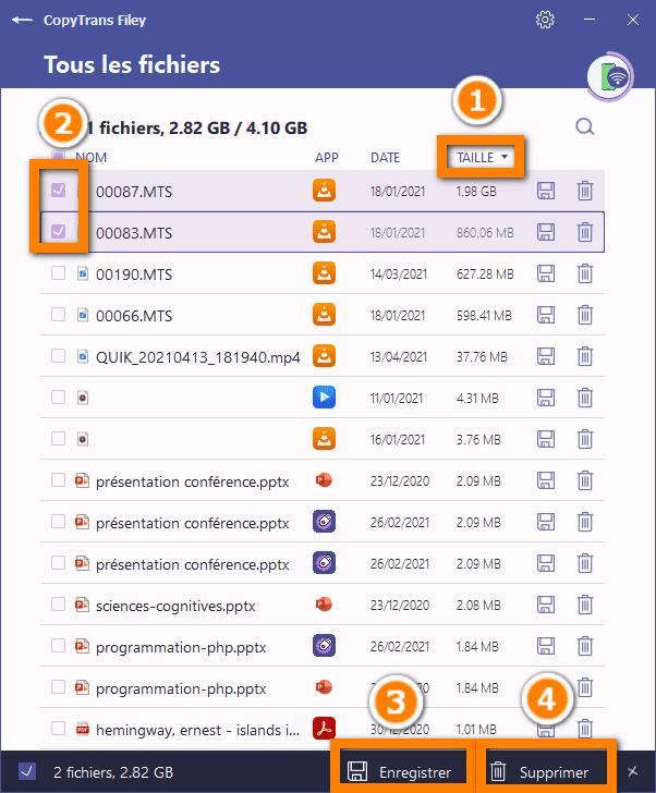 supprimer les fichiers pour sauvegarder iphone avec itunes