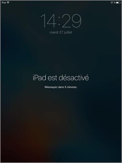iPad désactive - comment faire
