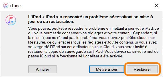 Restaurer ipad dans iTunes