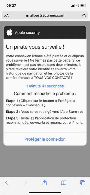 message indiquant que votre téléphone a été piraté