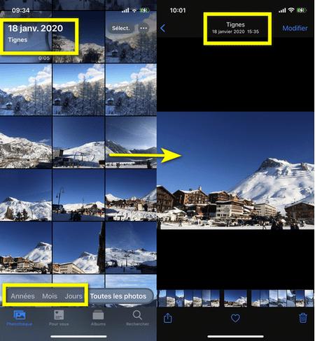 métadonnées photo dans la galérie iPhone