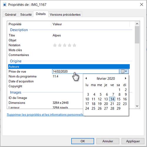 supprimer les données EXIF