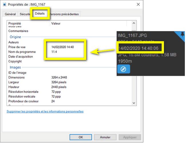 metadata photo conservée sur l'ordinateur