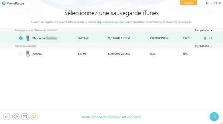 Phonerescue - sauvegardes iTunes
