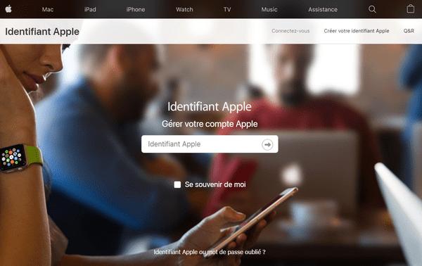 se connecter au gestionnaire des comptes Apple