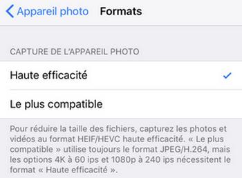 Formats photos iPhone dans reglages