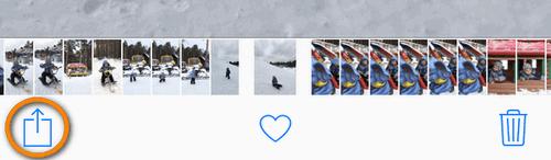Pour partager une Live Photo appuyez sur le symbole Envoyer