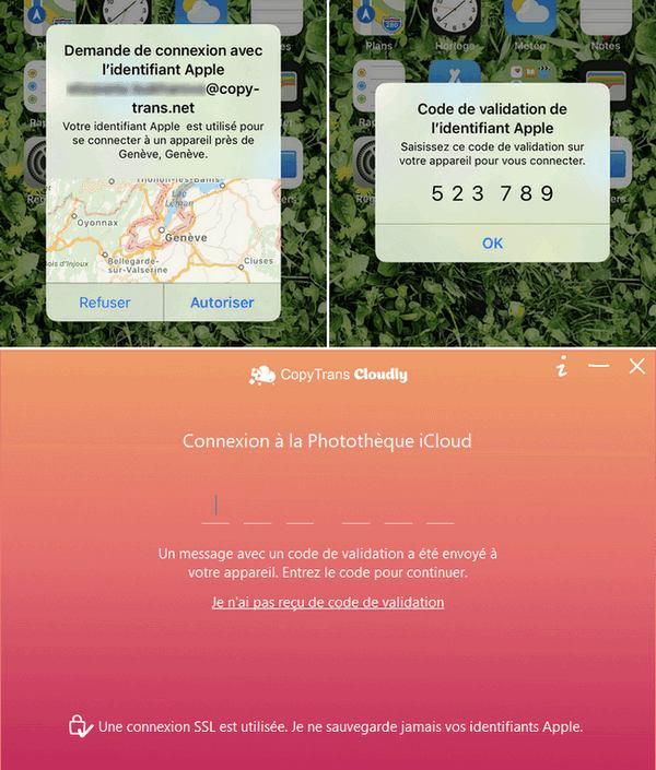 Entrer code verification Apple dans CopyTrans Cloudly