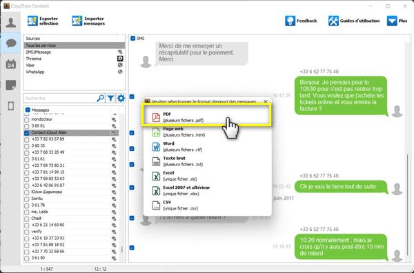 exporter les conversations avec CopyTrans Contacts